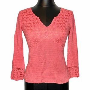 Vintage Lilly Pulitzer Crocheted Linen Blend Top